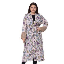 Long Size Floral Pattern Robe Cuff (Size 121.9x61 Cm) - Pink