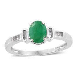 Kagem Zambian Emerald (Ovl 1.15 Ct), Diamond Ring in Platinum Overlay Sterling Silver 1.250 Ct.