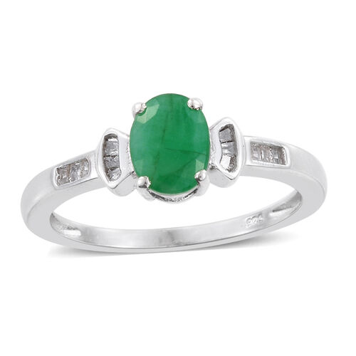 Kagem Zambian Emerald (Ovl 1.15 Ct), Diamond Ring in Platinum Overlay Sterling Silver 1.250 Ct.