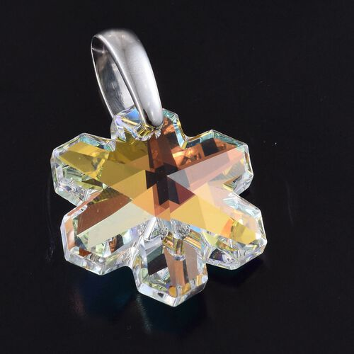 J Francis Crystal from Swarovski - AB Colour Crystal Fancy 25x25mm Pendant in Platinum Overlay Sterling Silver