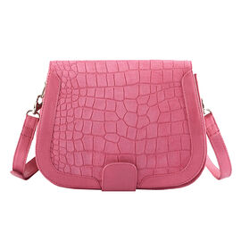 Assots London BENAVILLE Croc Embossed Crossbody Bag in Pink (Size 24x8x18 Cm)