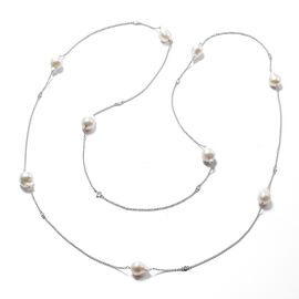 Isabella Liu Twilight Collection - Baroque Edison Pearl and Diamond Necklace (Size 60) in Rhodium Ov