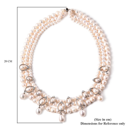 LucyQ White Freshwater Pearl and Natural Cambodian Zircon Necklace (Size 19) in Rhodium Overlay Sterling Silver, Silver wt 22.00 Gms