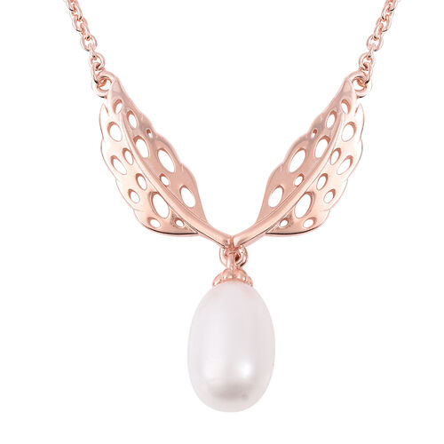 RACHEL GALLEY Freshwater White Pearl Lattice Feather Drop Necklace (Size 24) in Rose Gold Overlay St