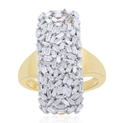Designer Inspired - Firecracker Diamond (Bgt) Ring in 14K Gold Overlay Sterling Silver 1.000 Ct., Silver wt 5.96 Gms.
