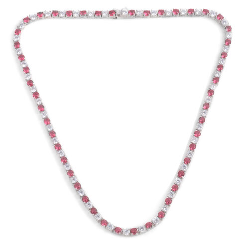 Close Out Deal Simulated Pink Sapphire (Rnd), Simulated White Diamond Necklace (Size 17) in Silver Bond