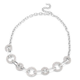 White Austrian Crystal Link Necklace (Size 20 with 2 inch Extender) in Silver Tone