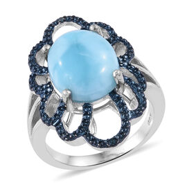 5 Carat Larimar and Blue diamond Floral Ring in Sterling Silver 5.9 Grams