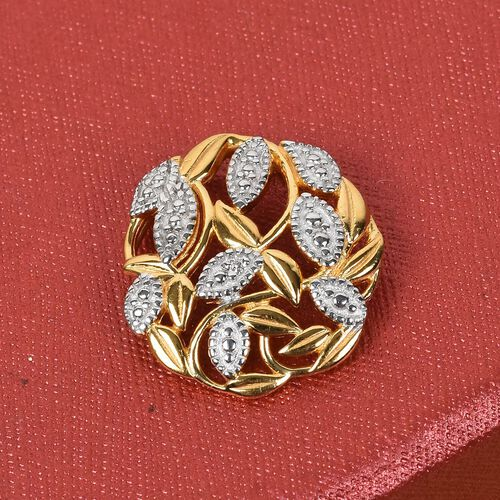 Diamond Leaf Vine Pendant in 14K Gold Overlay Sterling Silver