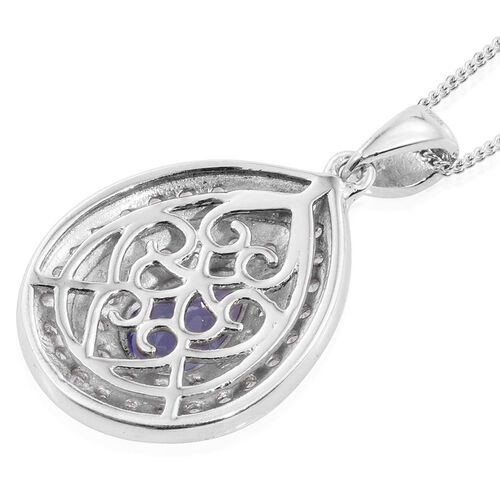 Tanzanite (Pear 1.35 Ct), Natural Cambodian Zircon Pendant With Chain in Platinum Overlay Sterling Silver 2.250 Ct.
