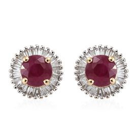 ILIANA 18 Yellow Gold AAA Burmese Ruby (Rnd 1.25 Ct) and Diamond Earrings (with Screw Back) 1.500 Ct