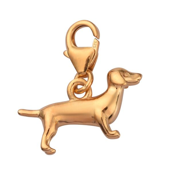 Charms De Memoire 14K Gold Overlay Sterling Silver Dog Charm