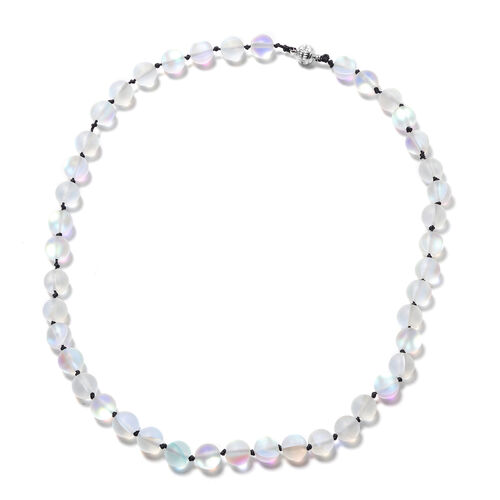 One Time Deal- White Mystic Glass (Rnd 9-11mm) Beads Necklace (Size 20) with Magnetic Lock
