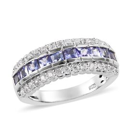 Tanzanite (0.90 Ct),Cambodian Zircon Platinum Overlay Sterling Silver Ring  1.500  Ct.