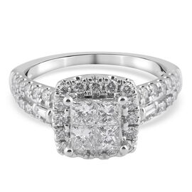NY Close Out 14K White Gold Diamond (SI2/G-H) Cluster Ring 1.33 Ct.,