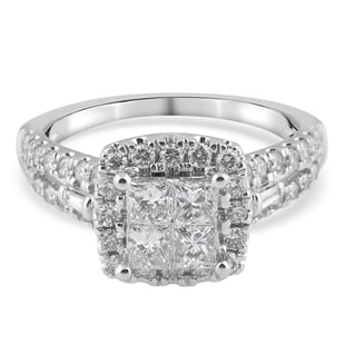 NY Close Out 14K White Gold Diamond (SI2-I1 /G-H) Cluster Ring 1.33 Ct.