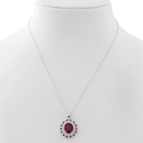 African Ruby (Ovl 6.00 Ct), Burmese Ruby and Natural White Cambodian Zircon Pendant with Chain in Rhodium Plated Sterling Silver 8.750 Ct.