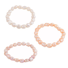 Set of 3 - Purple, Peach and White Freshwater Pearl Stretchable Bracelet (Size 7.5)