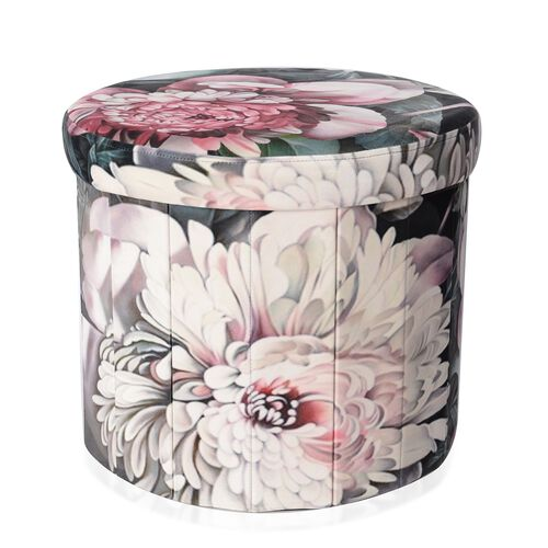 Pink Gardenia Flower Printed Velvet Foldable Storage Ottoman and Round Stool (Size 43x36.50 Cm)