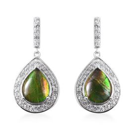 4.90 Ct Ammolite and Zircon Halo Drop Earrings in Rhodium Sterling Silver