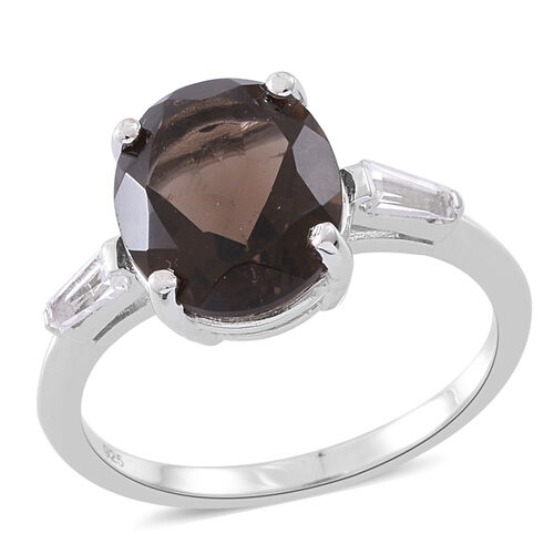 Brazilian Smoky Quartz (Ovl 4.25 Ct), White Topaz Ring in Rhodium Plated Sterling Silver 4.500 Ct.