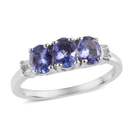One Time Deal - Tanzanite (Ovl), Diamond Ring in Platinum Overlay Sterling Silver 1.000 Ct.