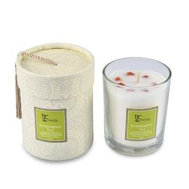 Home Decor - Lemongrass and Tea Scented Glass Candle with Garnet Carat wt 20.00 ct. (Size 8.2x8.2x9.
