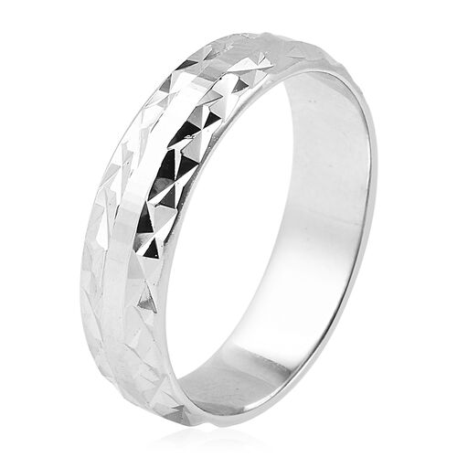 Vicenza Collection Rhodium Overlay Sterling Silver Diamond Cut Band Ring