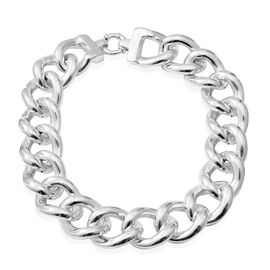20 Inch Curb Link Statement Necklace in Rhodium Plated Sterling Silver 56.00 Grams