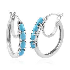 1.75 Ct AA Arizona Sleeping Beauty Turquoise Hoop Earrings in Platinum Plated Sterling Silver 5.09 G