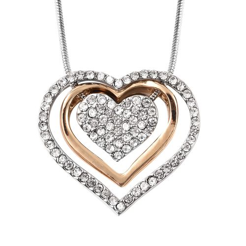 2 Piece Set -  White Austrian Crystal Heart Necklace (Size 18 with 4 inch Extender) and Teddy Bear Pendant with Chain (Size 29 with 2.5 inch Extender) in Gold and Silver Tone