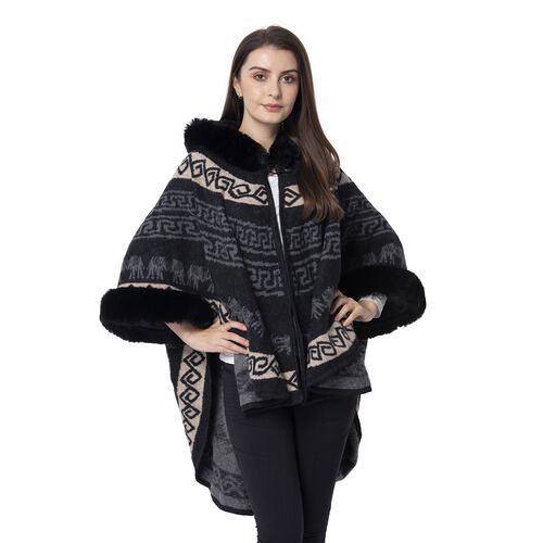 Last Chance-Black Colour Half Round Shape Hat Cape with Faux Fur (Size 109.22x80.01 Cm)