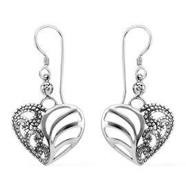 Royal Bali Collection Sterling Silver Heart Hook Earrings