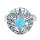 Arizona Sleeping Beauty Turquoise and Natural Cambodian Zircon Enamelled Ring (Size Q) in Platinum Overlay St
