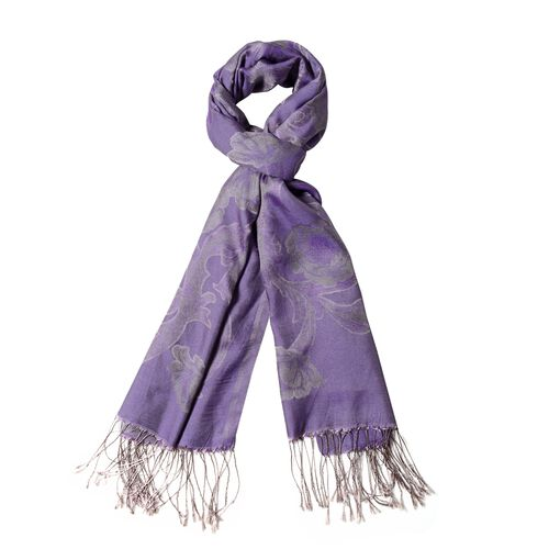 Purple Colour Scarf with Flower Pattern and Tassels (Size 180x70 Cm)