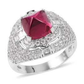Sugar Loaf Cut Simulated Ruby (Cush), Simulated Diamond Ring (Size N) in Silver Plated