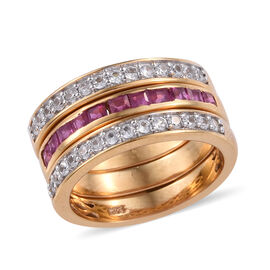 Set of 3- African Ruby (Sqr 1.00 Ct), Natural White Cambodian Zircon Stacker Ring in 14K Gold Overla