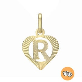 Children Diamond Cut R Initial Heart Pendant in 9K Gold