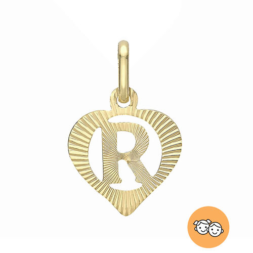 Children Diamond Cut R Initial Heart Pendant in 9K Gold