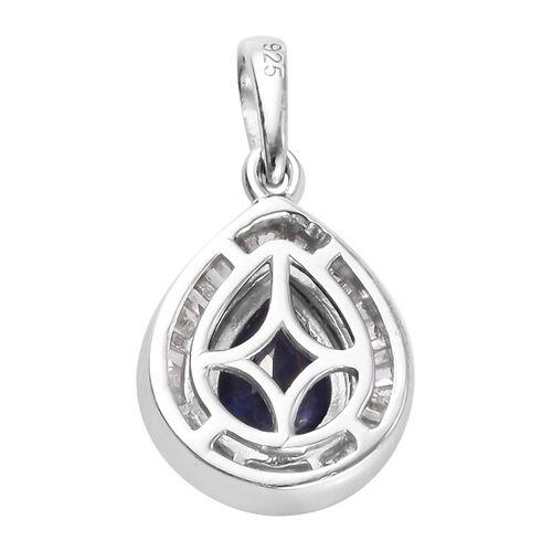 Masoala Sapphire and Diamond Pendant in Platinum Overlay Sterling Silver 1.19 Ct.