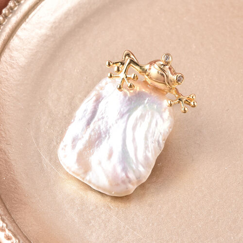 Baroque Pearl and Natural Cambodian Zircon Frog Pendant in Yellow Gold Overlay Sterling Silver