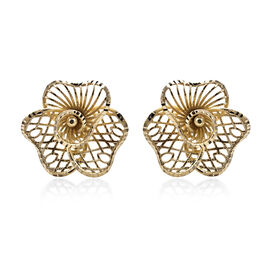 Royal Bali Collection - 9K Yellow Gold Diamond Cut Flower Stud Earrings (with Push Back), Gold wt 1.