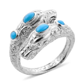 Royal Bali Collection - Arizona Sleeping Beauty Turquoise Dragon Head Ring in Sterling Silver, Silve