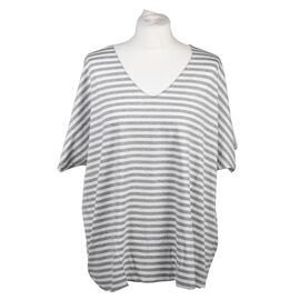 Misumi Super Soft Oversized V-Neck Stripe Short Sleeve Top in Grey (Size up to 18)