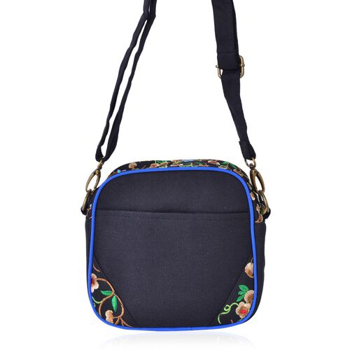 Shanghai Collection Floral Embroidered Crossbody Bag with Adjustable and Removable Shoulder Strap (Size 18.5X17.5X7.5 Cm)