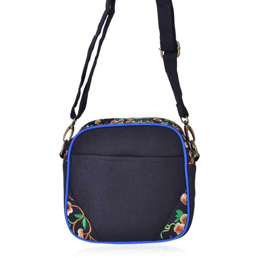 Shanghai Collection Floral Embroidered Crossbody Bag With Adjustable And Removable Shoulder ...