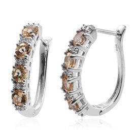 2.5 Ct Imperial Topaz and Natural Cambodian Zircon Hoop Earrings in Platinum Plated Silver
