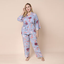 LA MAREY 100% Viscose 3 Piece Red Floral Pattern on Blue Sleepwear Set - Inclds Camisole Top, Elasti
