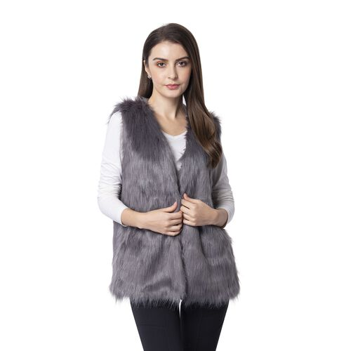 Grey Colour Faux Fur Gilet  (One Size Fits all)