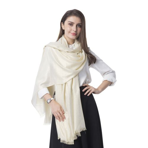 Italian Designer Inspired- Shining Imperial Golden Colour Shawl (Size 204x100 Cm)